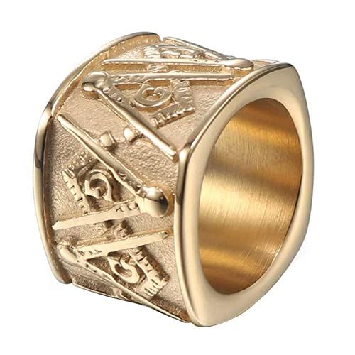 Cakunmik Vintage Viking Norse Odin Anillos De Sello Freemasonry Logo Anillo De Acero Inoxidable para Hombres Mujeres Antique Hip Hop Punk Jewelry,Oro,8