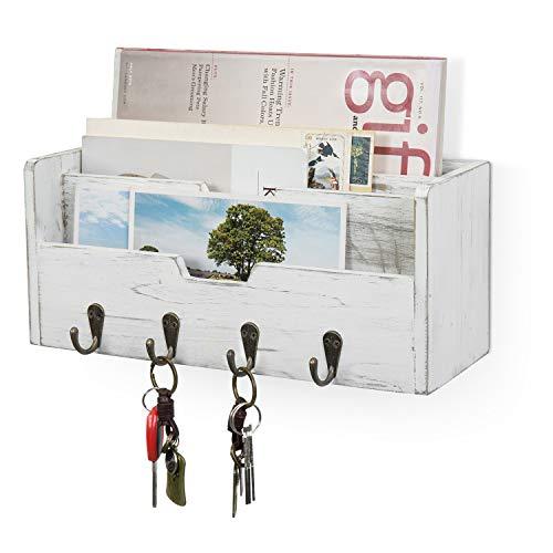 MyGift Vintage weiß gealtertes Holz Wand montiert Eingang Post Sortierer Magazin Organizer Rack mit 4 Schlüsselhaken