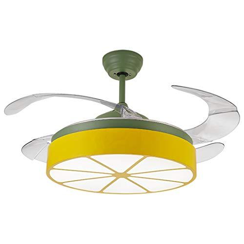 Plafondventilator voor kinderen, led, met ventilator, plafondverlichting, afstandsbediening, plafondventilator, stil, A+ 96 * 45cm Groen