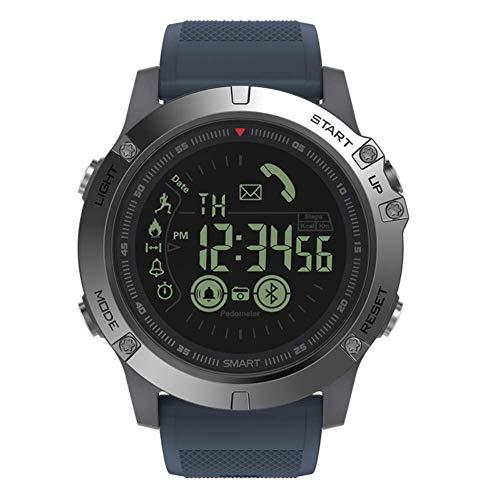 Multifunktion Robustes Militärsport Smart T1 Tact Uhren im Freien Arbeiten mit Apple Android Phone (Blau)