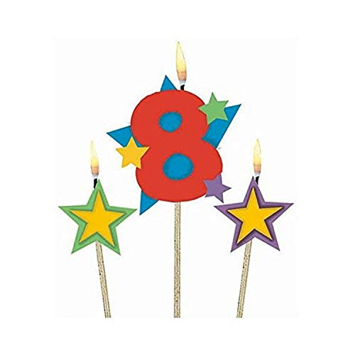 Amscan #8 Decorative Birthday Candle & Star Candles  Party Supply   3 pieces
