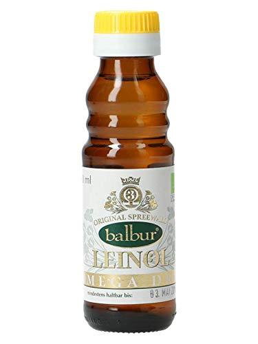 Balbur-Leinöl (Bio) aus dem Spreewald, erste Kaltpressung, naturbelassen, ungefiltert, bis zu 58% Omega-3 (100 ml)