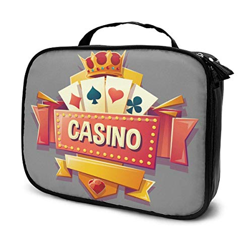 Casino Gambling Love Pattern Bolsa de cosméticos neceser para artistas de maquillaje, bolsa de almacenamiento portátil profesional, bolsa de viaje con asa superior