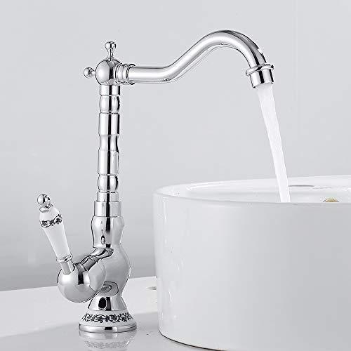Grifo mezclador de lavabo retro con una sola palanca para cocina, estilo vintage, latón cromado, mango de cerámica caliente y frío (plata)