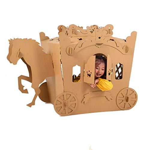 JLCP Karton Spielhaus Für Kinder, Prämie Gewellt DIY Handgemacht Draussen Innen Malerei Phantasie Spielzeugspielhaus, Wagen