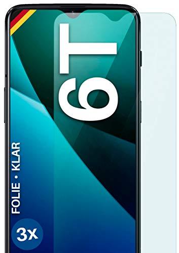 moex Klare Schutzfolie kompatibel mit OnePlus 6T - Bildschirmfolie kristallklar, HD Bildschirmschutz, dünne Kratzfeste Folie, 3X Stück