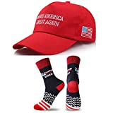 Comfortable Cotton Fabric ,100% High Quality Cotton Unisex. One Size Fits Most,Adjustable Venting hole design ,3-Inch Brim ,Nice light weight hat Socks for Men Shoes US 7-12, Women Shoes US 6-10. Keep America Great ,Make America Great Again ,MAGA
