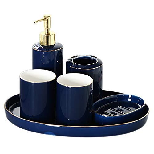 Dispensador de jabón Accesorios de baño de cerámica, borde azul, borde dorado azul Juego de seis piezas que contiene dispensador de jabón Taza de enjuague bucal Porta cepillo de dientes, bandeja y ban