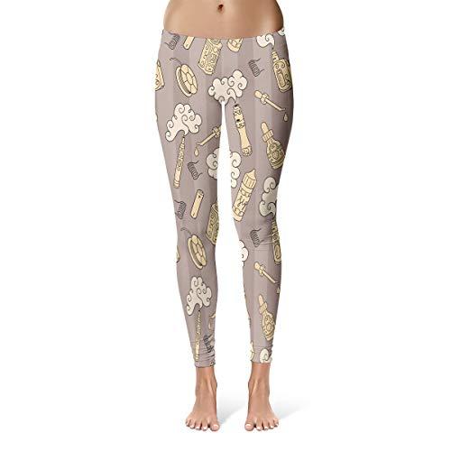Vape E Cigarettes Juice Mod Atomizer Devices Steam Battery Leggings Skinny Pants for Yoga Running Gym (L)