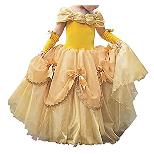 Vestido de carnaval de cuento de hadas para nias bebs Princesa Cosplay de Belle Bestia Disfraz de Belle Halloween navidad Vestido de noche de ceremonia de aniversario (120)