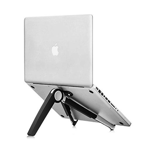 スマートフォンホルダー ノートパソコンスタンド タブレットスタンド スマホスタンド ラップトップスタンド PCスタンド 折りたたみ式 六段階角度 180度調整 アルミニウム製 コンパクト収納 持ち運び便利 吸盤付き 肩ごり腰痛の解消 17インチまでノートパソコン置き iPad Pro 12.9/APPLE MAC BOOK/Kindle/IPHONE/ASUS/GALAXY/ZENFONEなどに対応(ブラック)
