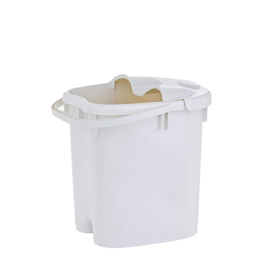 同盟胴体実行フットバスバレル- ?AMTシンプルな和風マッサージ浴槽ポータブル足湯バケツプラスチック付きふた保温足浴槽 Relax foot (色 : 白, サイズ さいず : 39cm high)