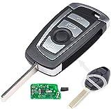 Keyecu EWS Modified Flip Remote Key 4 Button for BMW X5 Z3 Z4 2001-2005 HU92 Blade
