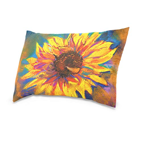 XiangHeFu Yellow Flower Art Painting Pillow Case Cushion Cotton Velvet Throw Pillow Cover 16x24 Inch