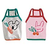 2 Pack Small Dog Vest T-Shirt Sweatshirt Rabbit Koalas Pattern Breathable Cotton Sleeves Puppy Tee Tank Top Pet Apparel Cat Clothes Oufit Costumes for Summer (Medium)