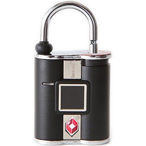 鍵の要らない指紋認証型スマート南京錠「TouchLock(タッチロック)」 TSA ブラック TSAロック対応済み