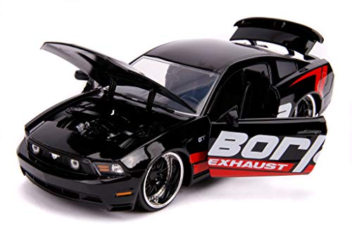 2010 Ford Mustang GT Borla Exhaust Black with Red Stripes Bigtime Muscle 1/24 Diecast Model Car by Jada 31322