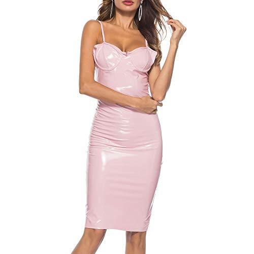 HJHK Wetlook Minikleid Rückenfrei Lackleder Body Erotik Damen Body hoch Geschnittenen Badeanzug Bikini Trikot Tops Damen Sexy Babydoll Clubwear Partykleid Disko klassisch Dessous Lingerie B-Pink L