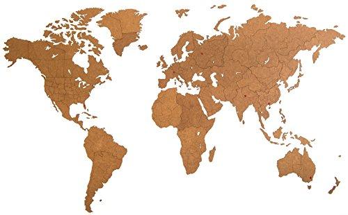 MiMi Innovations - Giant Lussuosa Decorazione da Parete in Legno con Mappa del Mondo 270 x 180 cm - Marrone