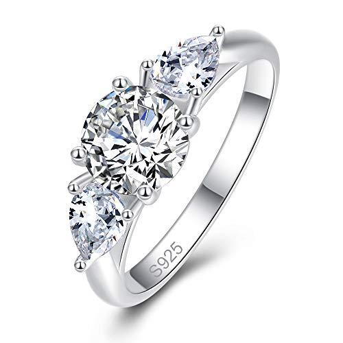 BONLAVIE Silberring für Frauen, 925 Sterling Silber Birne und Rundschliff Weiß Zirkonia Verlobungsring für Mädchen