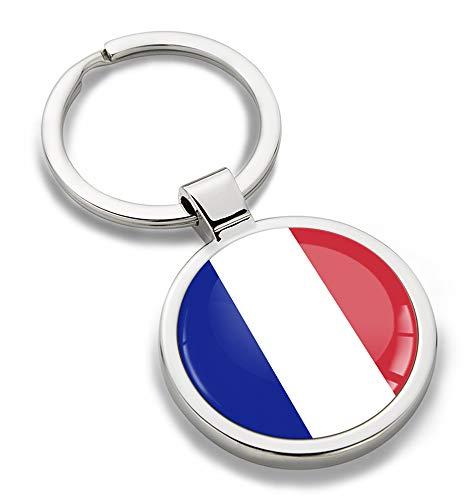 Skino sleutelhanger metaal sleutelring autosleutel geschenk metalen sleutelhanger sleutelhanger roestvrij staal Frankrijk vlag KK 188