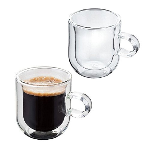 Judge Double Walled Juego de 2 Tazas de café de Doble Pared, Cristal de borosilicato, 75ml