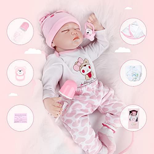 Bebe Reborn Niña Bebe Reborn Silicona Muñecos Reborn Niña Mirada Dormida 22 Pulgadas 55CM Muñecas para Niñas Muñecos Reborn Muñecas Reborn Regalo de Juguete para Niños