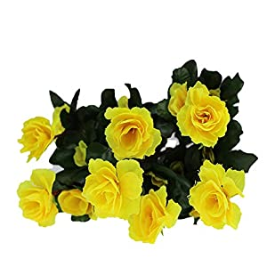 Gokeop 13-Inch Rhododendron Artificial Flower, 7 Heads DIY Fake Flowers for Home Decor Indoor and Wedding, 33cm Retro Style Natural Simulated Flowers for Festivals and Cemetery, Yellow