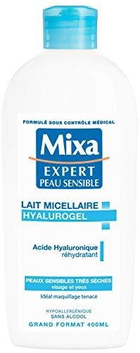 Mixa Expert Peau Sensible - Lait Micellaire Hyalurogel - Visage et Yeux - 400 ml - Lot de 1
