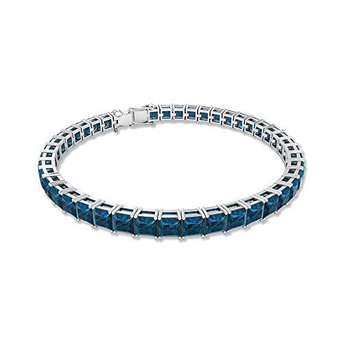 Pulsera de boda de topacio azul de 9,89 quilates, pulsera de declaración nupcial, pulsera de piedras preciosas con certificado SGL, pulsera de tenis apilable, 18K Oro blanco