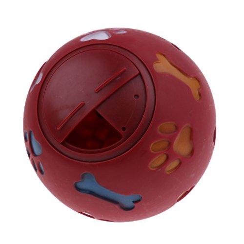 Baoblaze Hundeball Gummi Hundespielball Robustes Kauspielzeug Leckerliball Futterball für große, mittlere und kleine Hunde - Rot - S