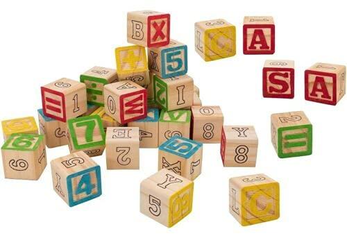REPLOOD Juego de 30 cubos de madera con letras, números, símbolos, 30 unidades, cubo de 3 x 3 cm, para construcción, jugar y aprender niños
