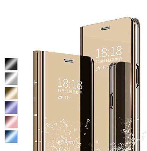 Jierich Funda para Xiaomi Redmi Note 10 4G/Note 10S Carcasa,Ultra Slim Espejo Funda Flip Inteligente,Soporte Plegable,[Anti-Rasguños] Case Cover para Xiaomi Redmi Note 10 4G/Note 10S-Oro