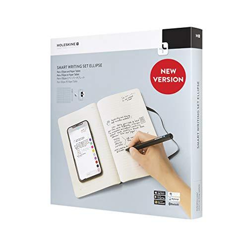Moleskine Smart Writing Set Ellipse Smart Notizbuch Paper Tablet und Pen+ Ellipse Smartpen Notizblock (geeignet für die Verwendung mit Moleskine Pen+, Linierten Seiten) schwarz