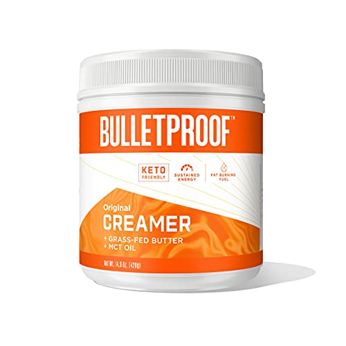 Keto Creamer, Original, Unflavored, 2g Net Carbs, 10g Healthy Fats from Powdered MCT Oil, Grass Fed Butter, 0g Sugar, Bulletproof Coffee Creamer for Sustained Energy, 30 Servings