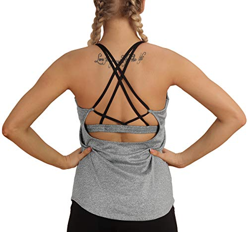 icyzone Damen Sport Yoga Tank Top mit Integriertem BH - 2 in 1 Sport Oberteile Fitness Gym Shirts (S, Grau)