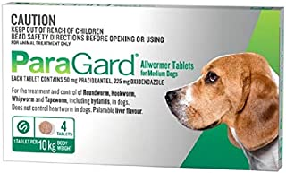 Paragard Allwormer 4 Tablet for Medium Dogs, 4 Count
