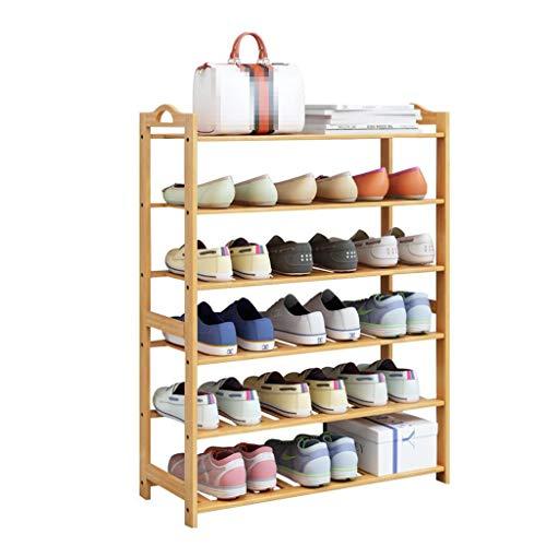M-YN Zapatero Organizador de Almacenamiento Permanente de pie, apilable, Extensible, de bambú, de 6 Niveles for 18 Pares de Zapatos, Ahorro de Espacio, Fácil de ensamblar
