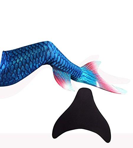 likeep™ Meerjungfrauenschwanz zum Schwimmen mit Meerjungfrau Flosse mit Kostenloser Classic Silicone Badekappe + Ohrenstöpsel + Nasenklammer (Dunkelblau, S)