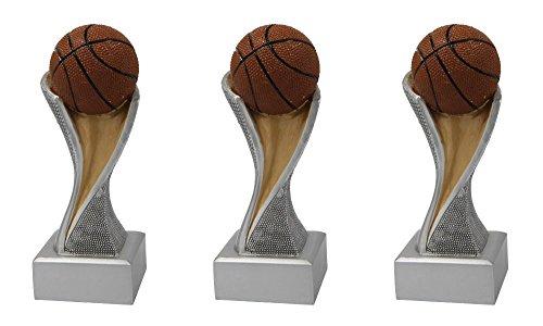 RaRu Basketball-Pokale mit Wunschgravur (Einzelpokal oder 3er-Serie) + 3 Basketball Anstecknadeln (Sticker) (Einzelpokal)