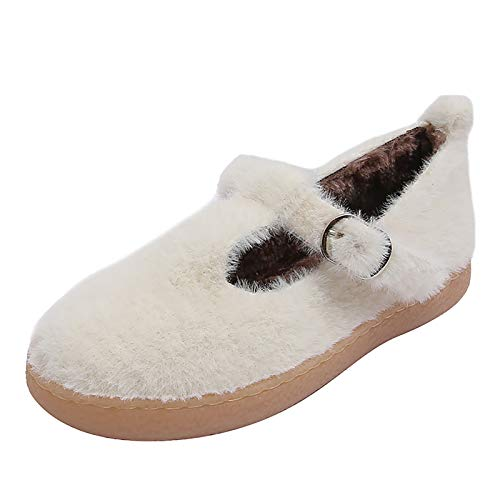UELEGANS Zapatillas De Estar por Casa para Mujer Slippers Comodos Pantuflas Zapatillas Invierno Peluche Algodón Mujer Casa Zapatos Antideslizante,Blanco,40