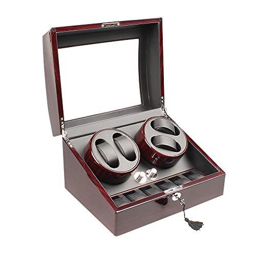 Xtelary Automatischer rotierender Uhren-Aufzieher für 4Uhren+ 6Aufbewahrungs-Boxen (lackiertes Holz)