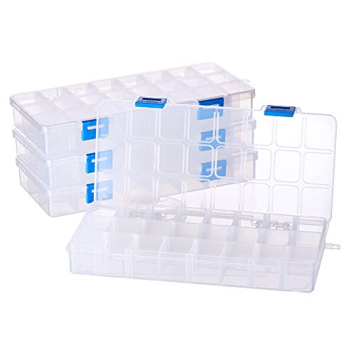 BENECREAT Jewelry Trennwände Box Organizer verstellbar Hohe Qualität Klar Kunststoff Bead Fall Container 4 Pack-24 Grids