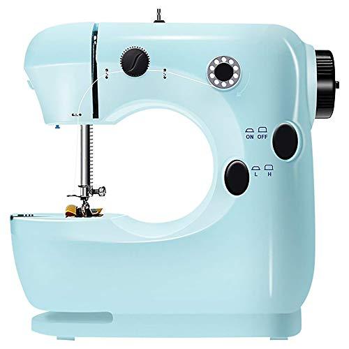 WAZA Máquina de Coser Eléctrica Multifuncional Multicolor Modos de Costura Manual y de Pedal Velocidad Ajustable (Azul)