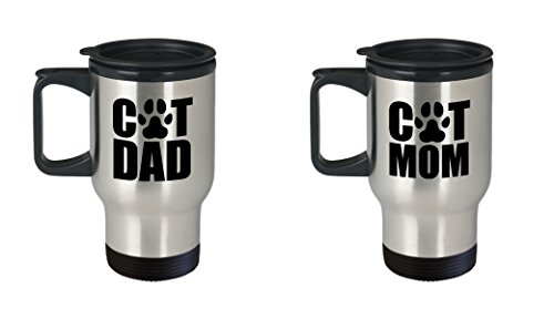 Cat Dad and Mom Funny Travel Mug Gift SET OF TWO Love Rescue Pet Owner Pets Kitten Paw Print Gifts Coffee Cup