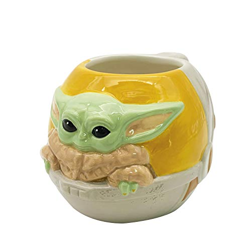 Zak Designs Star Wars The Mandalorian Sculpted Ceramic Coffee Mug Collectible Keepsake with Unique 3D Character 16 OZ Baby YodaThe Child in Cradle