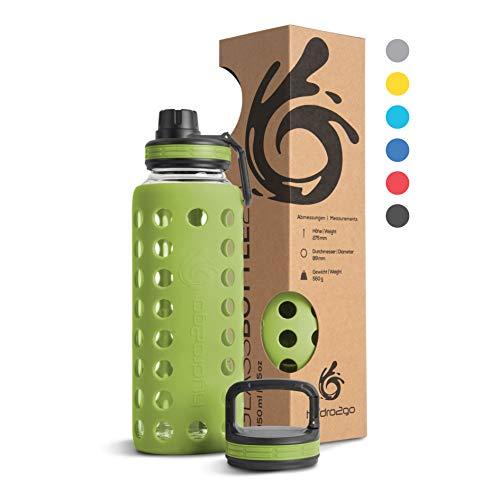 hydro2go® Trinkflasche aus Glas mit Silikonhülle 950 ml - spülmaschinenfest | 2 auswechselbare Deckel | 100% Auslaufsicher BPA-frei - Glasflasche für Smoothies, Büro, Fitness, Yoga, Sport & Outdoor