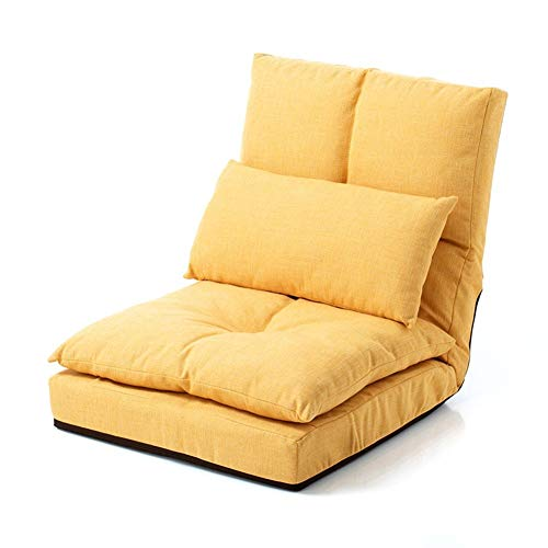 Zjyfyfyf Lounge Sofa Bed Folding Adjustable Floor Lounger Sleeper Futon Soft Mattress Seat Chair Pillow Living Room Bed Room Furniture (Color : Yellow)