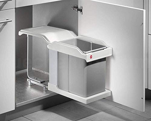 Häfele Einfach-Abfallsammler 11 Liter Mülleimer zum Einbauen Küche Bad weiß