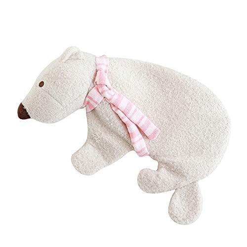 Borsa dell'acqua calda, borsa dell'acqua calda, con orsetto polare staccabile a iniezione, mini morbido velluto scaldamani trattamento rilassante
